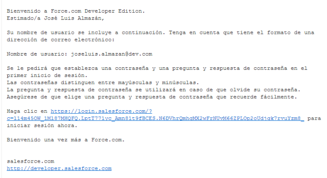 Alta licencia Developer Bienvenida email